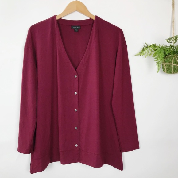 J. Jill Sweaters - J. Jill Wearever Burgundy V Neck Cardigan Top ac04db89a